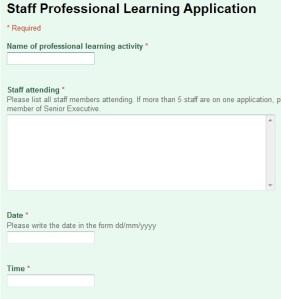 screenshot of online form