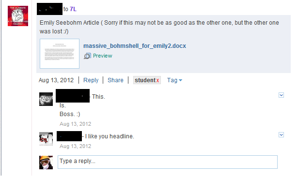 Students sharing and commenting on each other's work on Edmodo