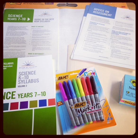 A photo of resources for designing learning for new syllabus