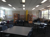 Brindabella Christian College library - I love the signs at the back of the wall