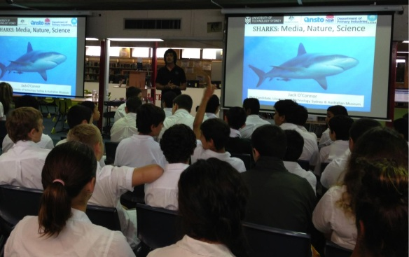 A marine biologist specialising in sharks speak to Year 8s about this job and why he loves being a scientist.