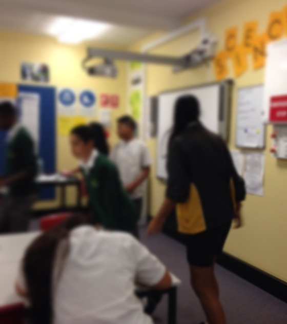 Year 8 students in a running dictation activity