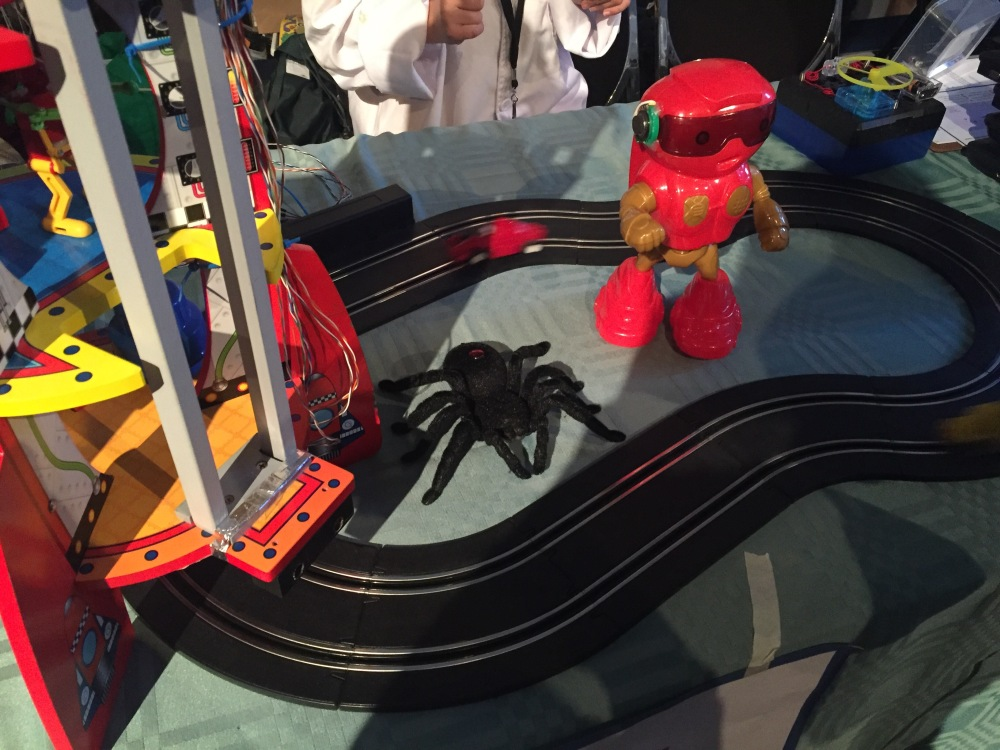 makerspace display showing robot and race track