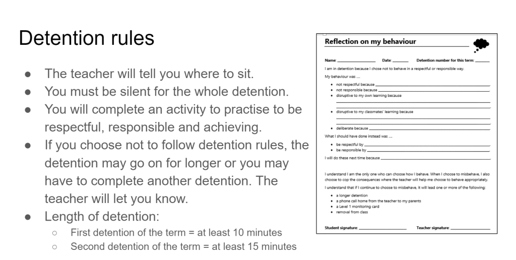 Description of detention rules