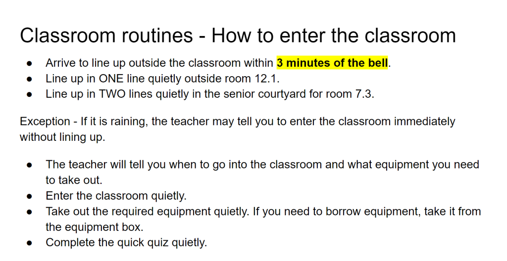 Text describing how to enter the classroom