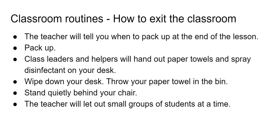 Classroom routine for existing a classroom