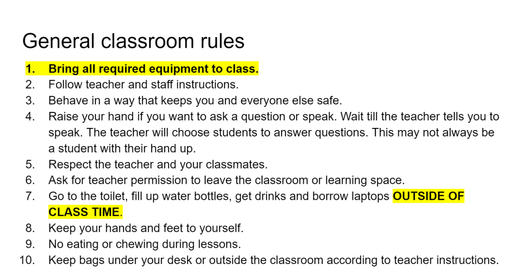 Text describing general classroom rules.